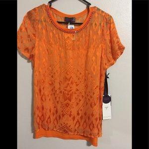 Hale Bob Orange Silk Top NWT Small